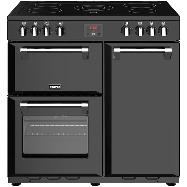 Stoves Belmont 90E 90cm Electric Range Cooker with Ceramic Hob - Black - A/A/A Rated - Belmont 90E_BK - 1