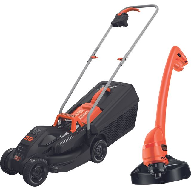 Black + Decker BEMW351GL2-GB Rotary Lawnmower Electric Mower & Grass Trimmer - BEMW351GL2-GB_BKOR - 1