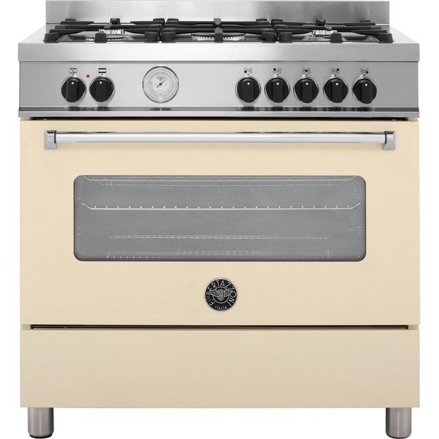 Bertazzoni Master Series MAS90-5-MFE-S-CRE 90cm Dual Fuel Range Cooker - Cream - A Rated - MAS90-5-MFE-S-CRE_CR - 1