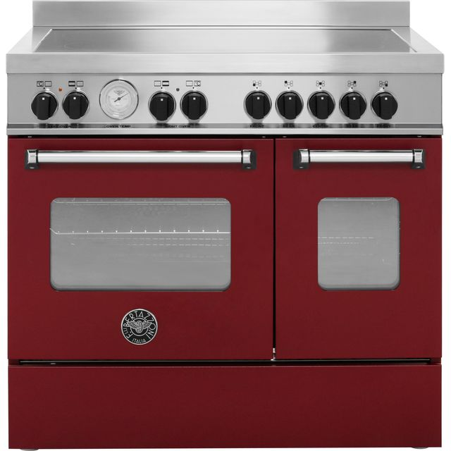 Bertazzoni Master Series MAS90-5I-MFE-D-VIE 90cm Electric Range Cooker with Induction Hob - Burgundy - A+/A Rated - MAS90-5I-MFE-D-VIE_BUR - 1