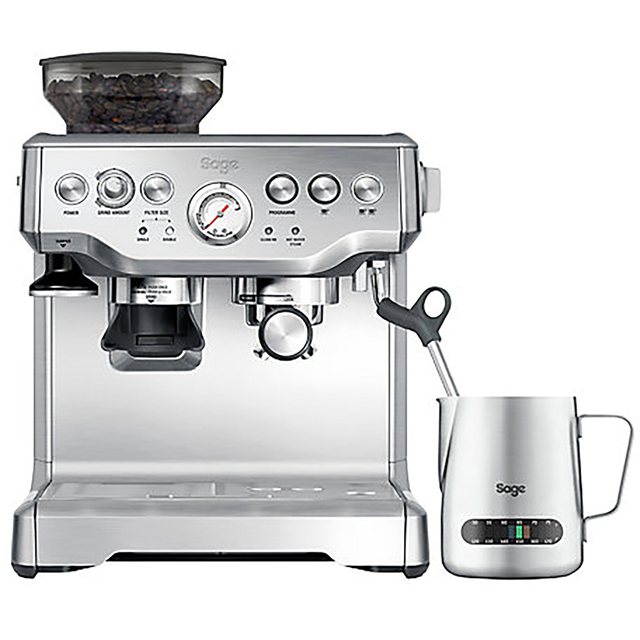 Sage The Barista Express BES875UK Espresso Coffee Machine with Integrated Burr Grinder - Brushed Steel - BES875UK_BSS - 1