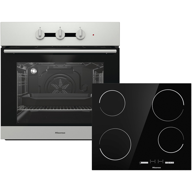Hisense BI6031CXUK Built In Electric Single Oven and Ceramic Hob Pack - Stainless Steel / Black - A Rated - BI6031CXUK_SSB - 1