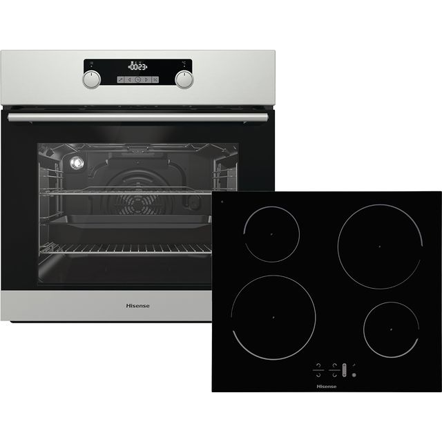 Hisense BI6032IXUK Built In Electric Single Oven and Induction Hob Pack - Stainless Steel / Black - A Rated - BI6032IXUK_SSB - 1