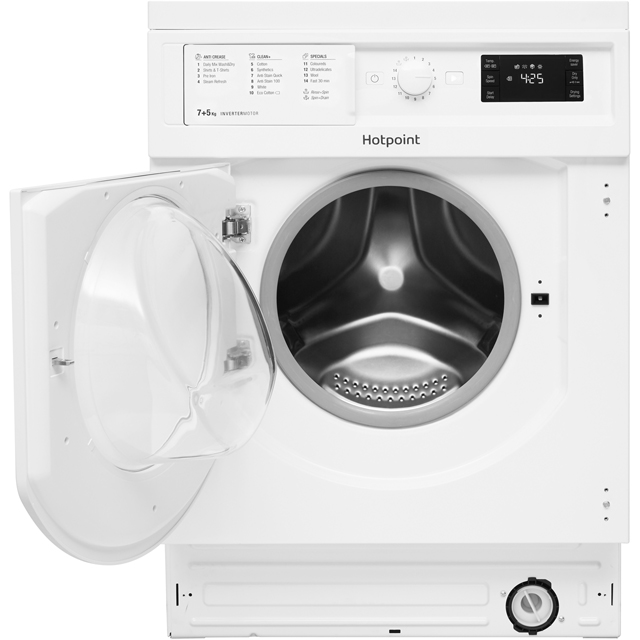 Hotpoint BIWDHG7148 Built In 7Kg / 5Kg Washer Dryer - White - BIWDHG7148_WH - 3