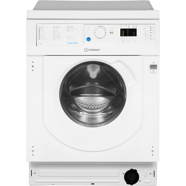 Indesit BIWDIL7125 Built In 7Kg / 5Kg Washer Dryer - White - BIWDIL7125_WH - 1