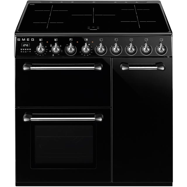 Smeg Blenheim BM93iBL 90cm Electric Range Cooker with Induction Hob - Black - A/B Rated - BM93iBL_BK - 1