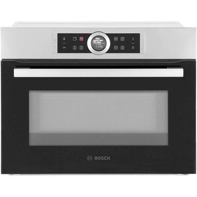 Bosch Serie 8 CMG633BS1B Built In Compact Electric Single Oven with Microwave Function - Brushed Steel - CMG633BS1B_BS - 1