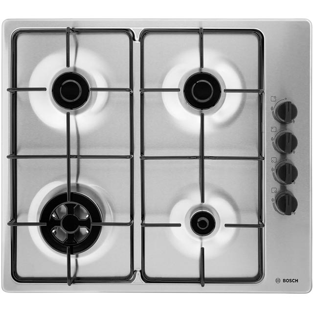 Bosch Serie 2 PBH6B5B80 Built In Gas Hob - Brushed Steel - PBH6B5B80_BS - 1