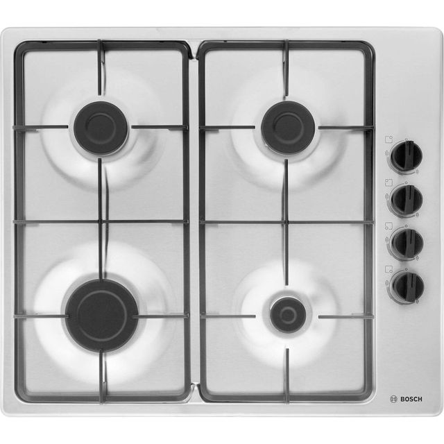 Bosch Serie 2 PBP6B5B60 Built In Gas Hob - Brushed Steel - PBP6B5B60_BS - 1