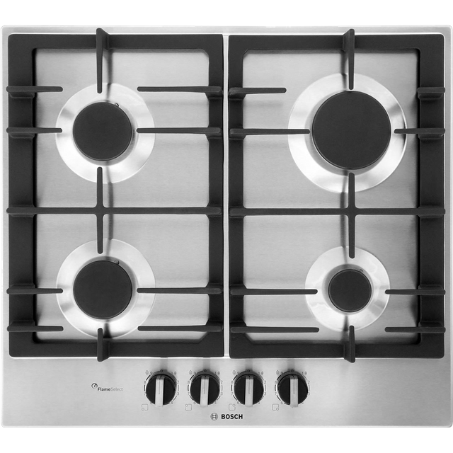 BOSCH Serie 6 PCP6A5B90 Gas Hob – Stainless Steel, Stainless Steel