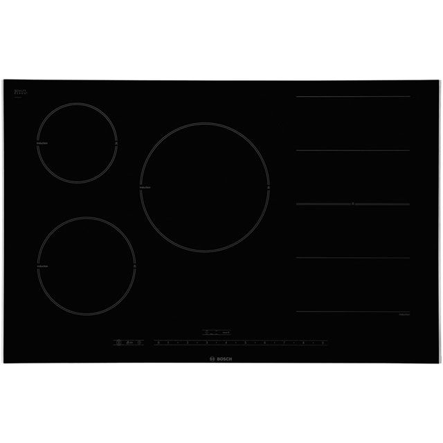 Bosch Serie 8 PIP875N17E 82cm Induction Hob - Black Glass / Stainless Steel Look