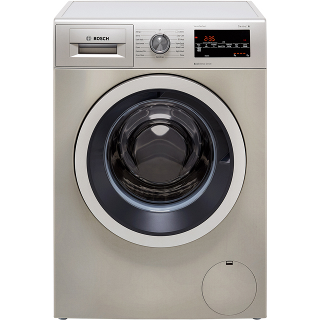 Bosch Serie 6 WAT2840SGB 9Kg Washing Machine with 1400 rpm - Silver - A+++ Rated - WAT2840SGB_SI - 1