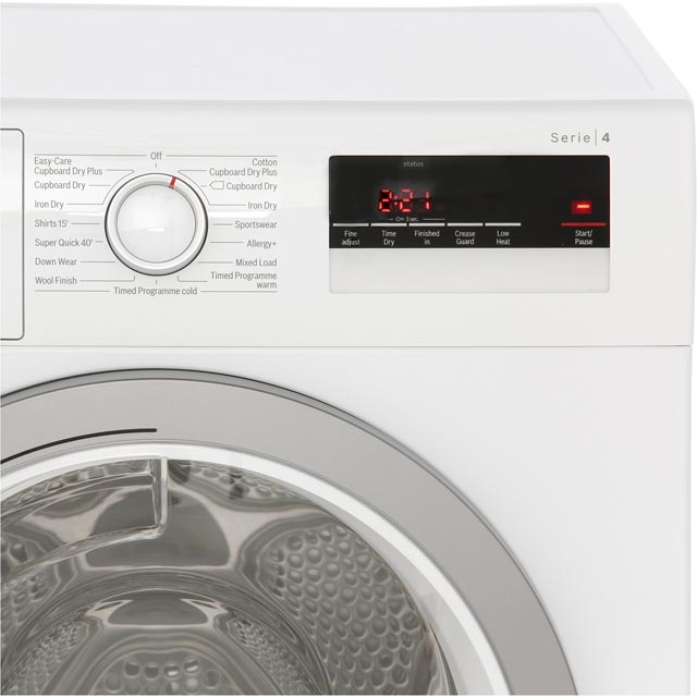 Bosch Serie 4 WTN85250GB Condenser Tumble Dryer - White - WTN85250GB_WH - 4