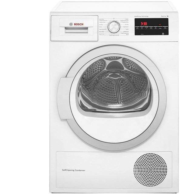 Bosch Serie 6 WTW85491GB Free Standing Condenser Tumble Dryer in White