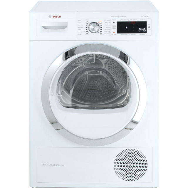 Bosch Serie 8 WTW87561GB Heat Pump Tumble Dryer - White - WTW87561GB_WH - 1