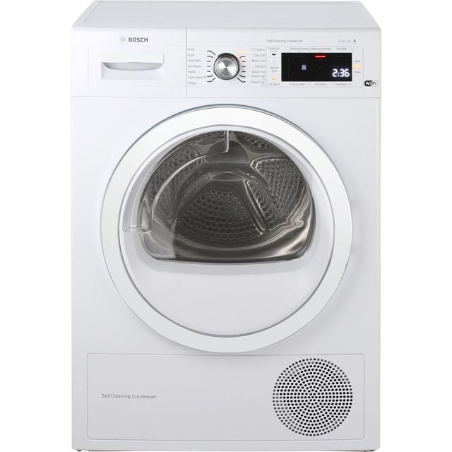 Bosch Serie 8 WTWH7560GB Free Standing Condenser Tumble Dryer in White