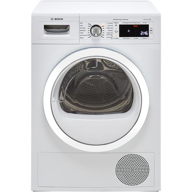 Bosch Serie 8 WTWH7561GB Heat Pump Tumble Dryer - White - WTWH7561GB_WH - 1
