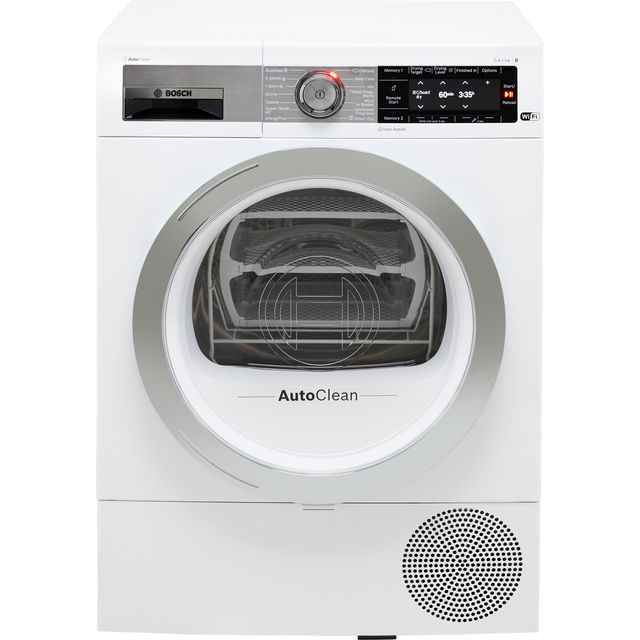Bosch Serie 8 WTX88EH9GB Wifi Connected 9Kg Heat Pump Tumble Dryer - White - A+++ Rated