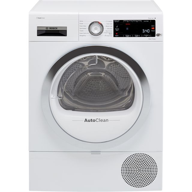 Bosch Serie 8 WTX88RH9GB Wifi Connected 9Kg Heat Pump Tumble Dryer - White - A+++ Rated