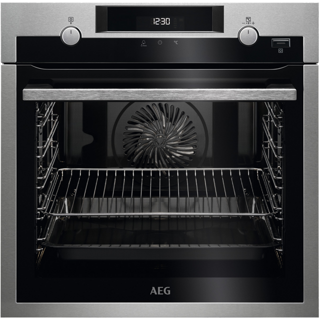 AEG BPS555020M Built In Electric Single Oven with added Steam Function - Stainless Steel / Black - A+ Rated