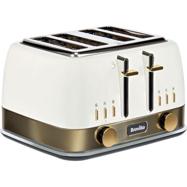 Breville New York Collection VTT942 4 Slice Toaster - White / Gold