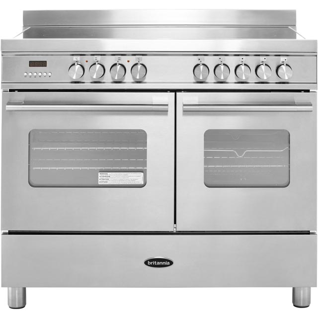 Britannia Delphi RC-10TI-DE-S 100cm Electric Range Cooker with Induction Hob - Stainless Steel - A/A Rated - RC-10TI-DE-S_SS - 1