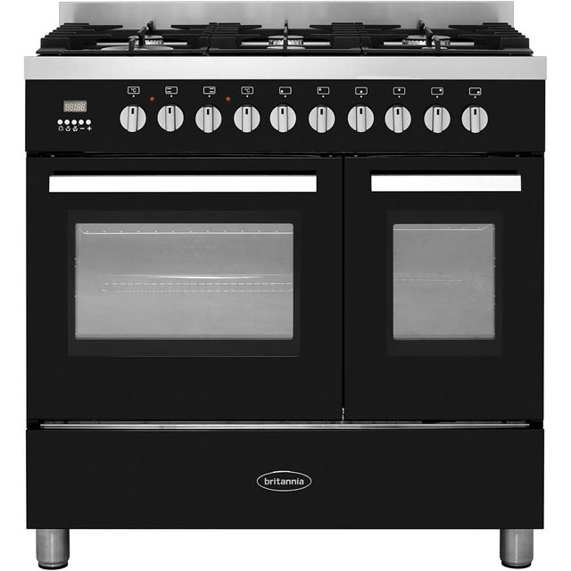 Britannia Stanza 544446305 Dual Fuel Range Cooker - Black Gloss - A+/A Rated - 544446305_BK - 1