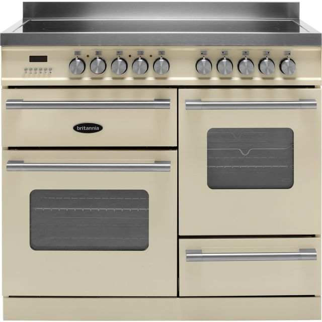 Britannia Delphi RC-10XGI-DE-CR 100cm Electric Range Cooker with Induction Hob - Cream - A/A Rated - RC-10XGI-DE-CR_CR - 1