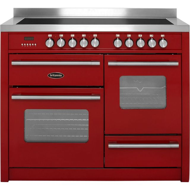Britannia Delphi RC-11XGI-DE-RED 110cm Electric Range Cooker with Induction Hob - Red - A/A Rated - RC-11XGI-DE-RED_RD - 1