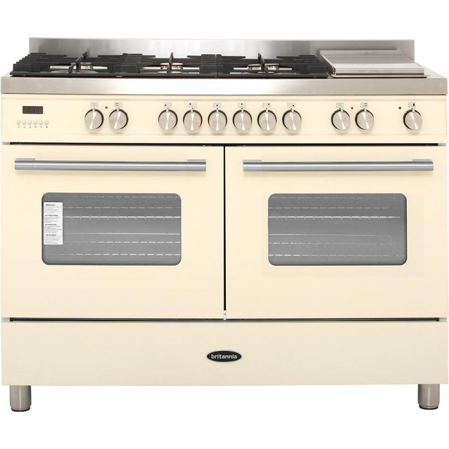 Britannia Delphi RC-12TG-DE-CR 120cm Dual Fuel Range Cooker - Cream - A Rated - RC-12TG-DE-CR_CR - 1