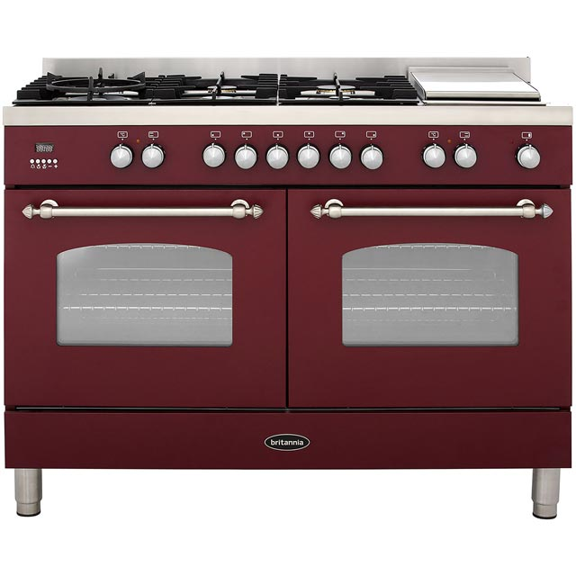 Britannia Fleet RC-12TG-FL-BUR 120cm Dual Fuel Range Cooker - Burgundy - A/A Rated