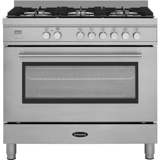 Britannia Q Line 90cm Dual Fuel Range Cooker - Stainless Steel - A Rated