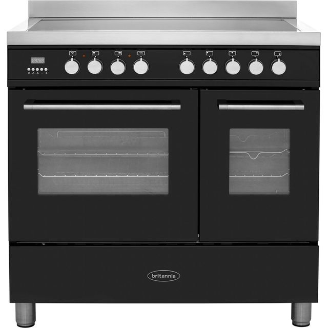 Britannia Q Line RC-9TI-QL-K 90cm Electric Range Cooker with Induction Hob - Black - A/A+ Rated - RC-9TI-QL-K_BK - 1