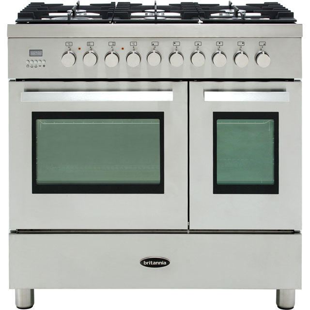 Britannia Sonetto 90DF TC 90cm Dual Fuel Range Cooker - Black - A/A+ Rated - Sonetto 90DF TC_BK - 1