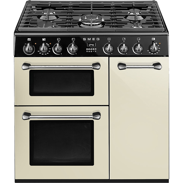 smeg burghley bu93p 90cm dual fuel range cooker cream