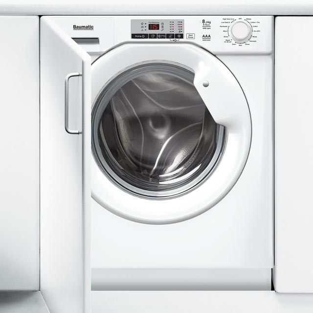 Baumatic BWDI1485D Built In 8Kg / 5Kg Washer Dryer - White - BWDI1485D_WH - 1
