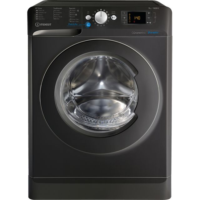 Indesit BWE91483XKUKN 9Kg Washing Machine with 1400 rpm - Black - A+++ Rated - BWE91483XKUKN_BK - 1