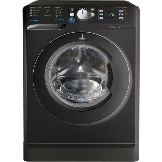 Indesit BWE91484XKUK 9Kg Washing Machine with 1400 rpm - Black - BWE91484XKUK_BK - 1
