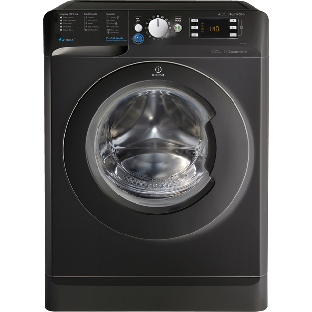 Indesit BWE91484XKUK 9Kg Washing Machine with 1400 rpm - Black - A+++ Rated - BWE91484XKUK_BK - 1