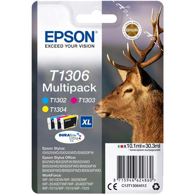 Epson Multipack 3-colours T1306 DURABrite Ultra Ink Cartridge