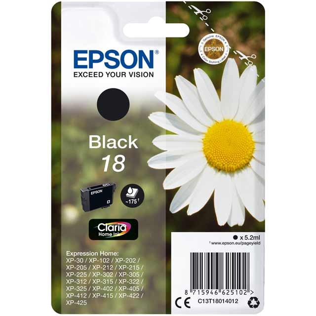 Epson Singlepack Black 18 Claria Home Ink Cartridge