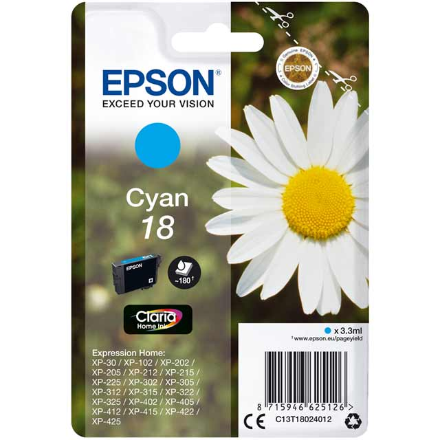 Epson Singlepack Cyan 18 Claria Home Ink Cartridge