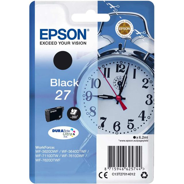 Epson Alarm Clock Singlepack Black 27 DURABrite Ultra Ink Cartridge