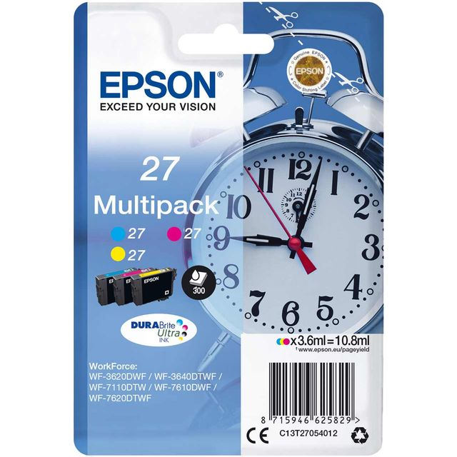 Epson Alarm Clock Multipack 3-colour 27 DURABrite Ultra Ink Cartridge