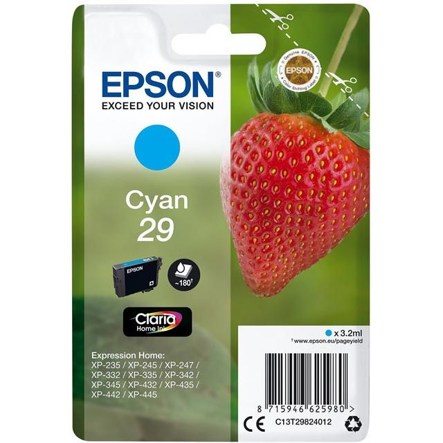 Epson Strawberry Singlepack Cyan 29 Claria Home Ink - C13T29824012 - 1