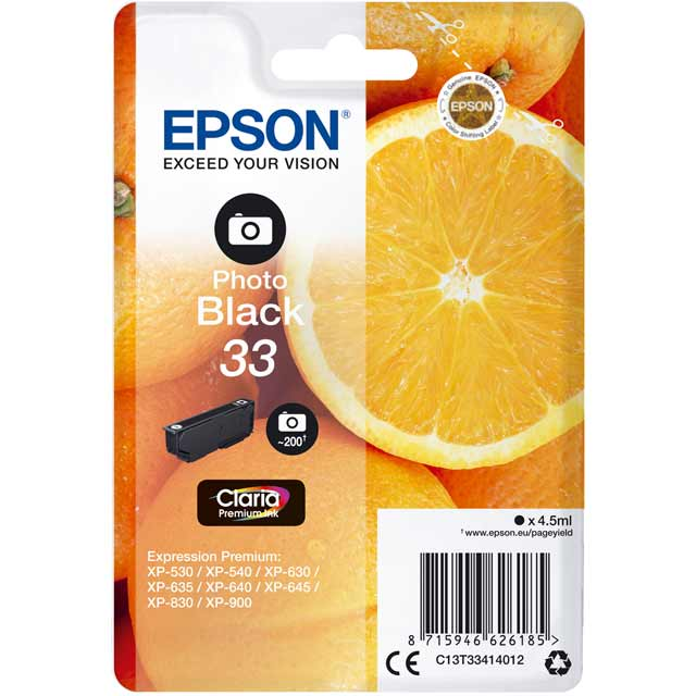 Epson Singlepack Photo Black 33 Claria Premium Ink Cartridge