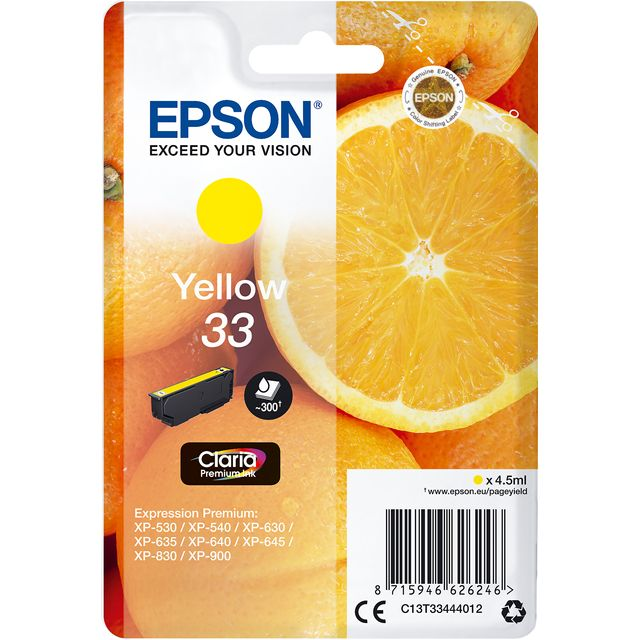 Epson Orange Singlepack Yellow 33 Claria Premium Ink - C13T33444012 - 1