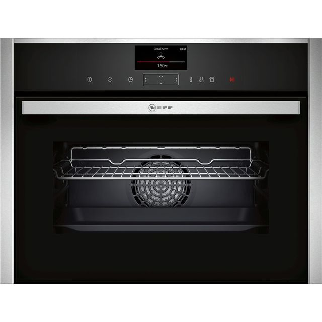 NEFF N90 C17FS32H0B Wifi Connected Built In Compact Electric Single Oven with added Steam Function - Stainless Steel - A+ Rated - C17FS32H0B_SS - 1