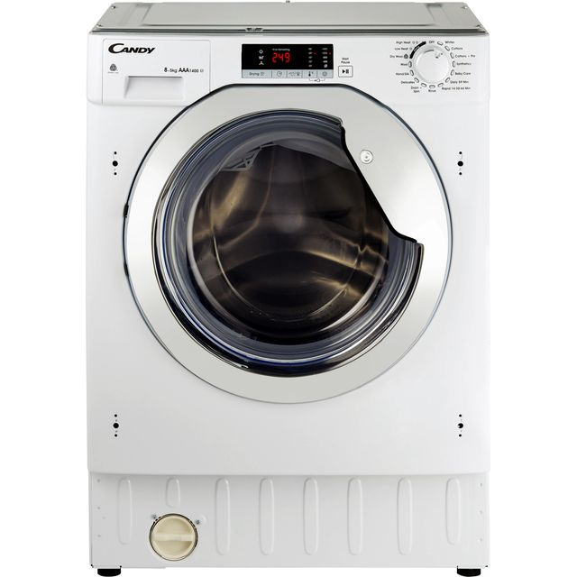 Candy CBWD8514SC Integrated 8Kg / 5Kg Washer Dryer with 1400 rpm - White / Chrome - A Rated