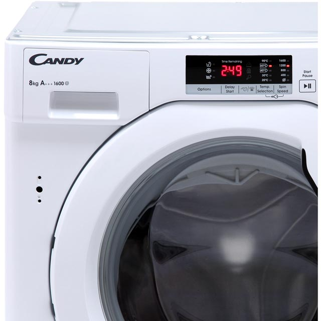 Candy CBWM816S Built In 8Kg Washing Machine - White - CBWM816S_WH - 3
